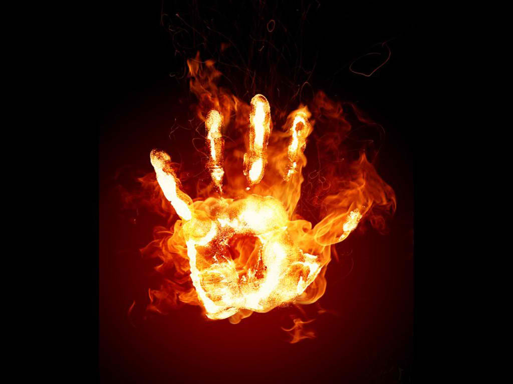 Flames in theshape of a hand1