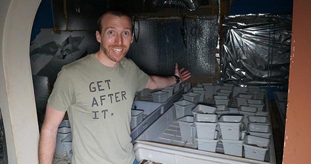 man standing in doorway extending arm toward marijuana growing equipment throughout room
