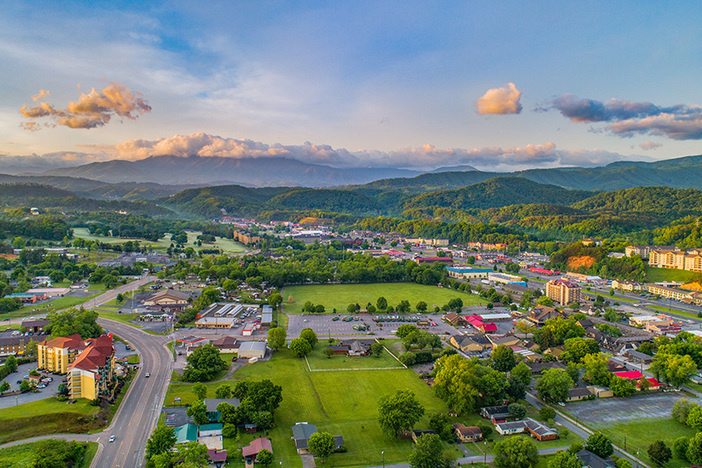 Pigeon Forge and Sevierville Tennessee Drone Aerial.