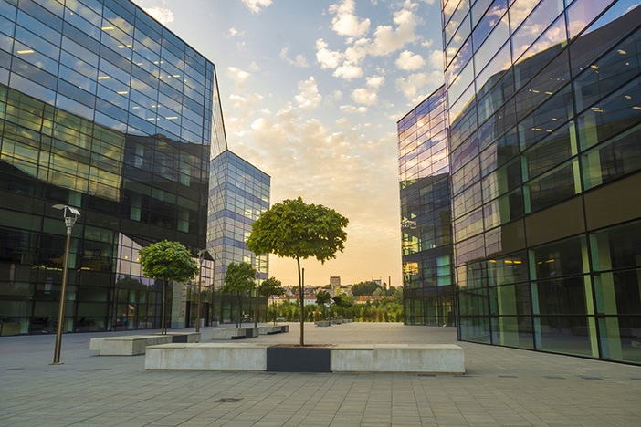 modern complex of office buildings in the evening
