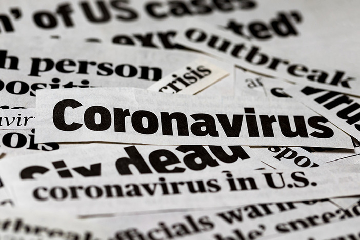 Coronavirus, covid-19 newspaper headline clippings