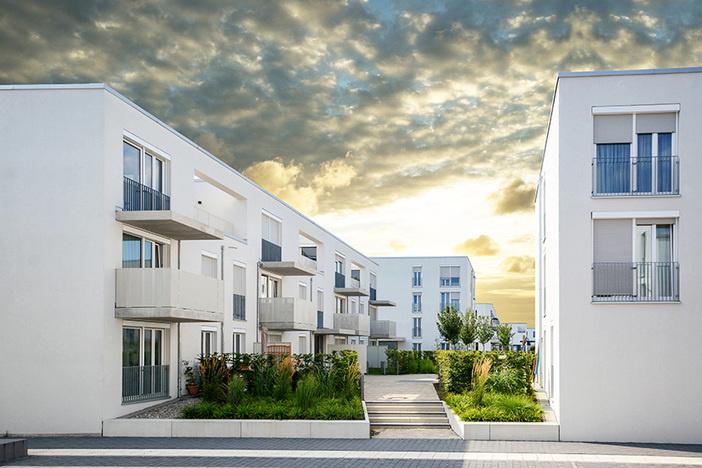 white apartment complex