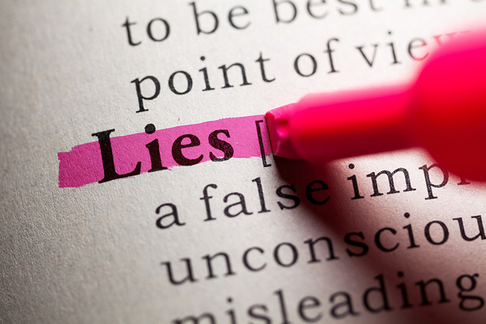 dictionary entry of the word lie highlighted in pink