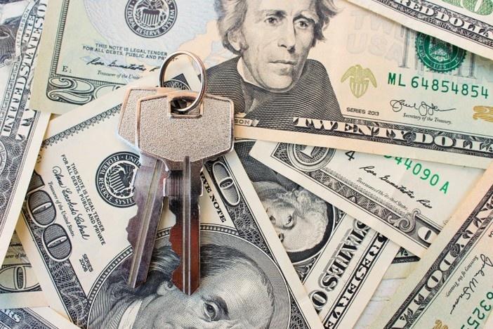 keys on top of dollar bills