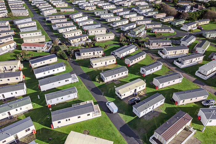 Caravan and camping, static home aerial view. Porthmadog holiday